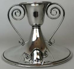 Vintage Pair Saart 925 Sterling Silver Art Deco Mid Century Modern Candlesticks