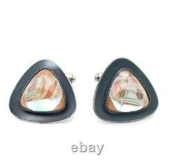 Vintage Pair Saphiret Saphirine red Blue Stone Modernist silver tone Cufflinks