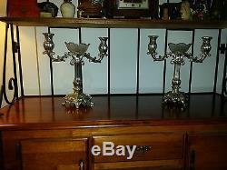 Vintage Pair Silver Victorian Era Style European Candelabras