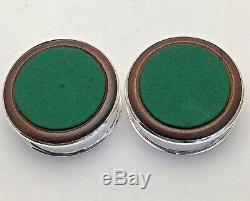 Vintage Pair Solid Sterling Silver Wine Bottle Coasters Classical Style