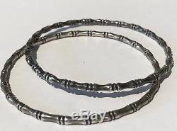 Vintage Pair Sterling Silver Bamboo Design Bangle Bracelets