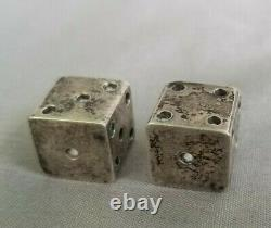 Vintage Pair Sterling Silver Dice Taxco Mexico Gambling Signed