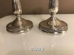 Vintage Pair Sterling Silver International Convertible Candlesticks Candelabra