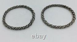 Vintage Pair Sterling Silver Twist Heavy Bangle Bracelets