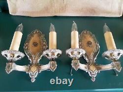 Vintage Pair Victorian Double Light Sconces Polychrome Orig 1920s Marked Lion