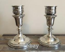 Vintage Pair Weighted Sterling Hallmarked Candlestick Holders with Wax Catchers