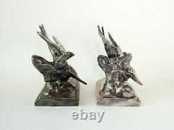 Vintage Pair c. 1930's Bird Swallow Bookends Chrome or Silverplate K & O