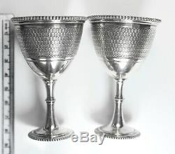 Vintage Pair of 925 St. Silver Wine Glasses Stemware Goblets, 118 Grams