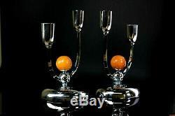 Vintage Pair of Art Deco Manner Silver Plated Candelabra Candlesticks