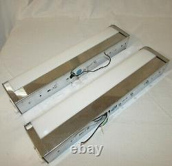 Vintage Pair of Fluorescent Chrome & Ribbed Cover Wall Mount Tube Sconce Lights