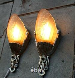 Vintage Pair of Lincoln Art Deco 1920s Slip Shade Wall Sconce Lights Rewired