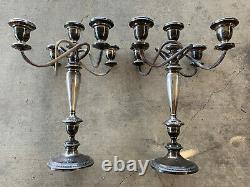 Vintage Pair of POOLE 754 Large Sterling Silver Candlesticks 5-stick