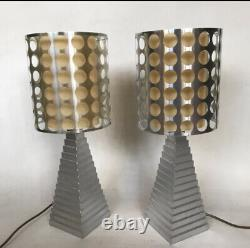 Vintage Pair of Porta Lamps Romana Obelisk Pyramid Sandstone Side Console Table