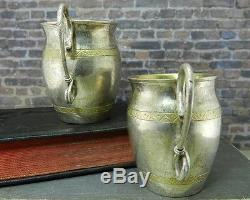 Vintage Pair of Russian 84 Silver Kiddush/ Vodka Cups w Serpentine Snake Handles