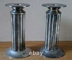 Vintage Pair of Silver Plate Swid Powell Candlesticks by Robert A. M. Stern
