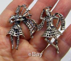 Vintage Pair of Sterling Silver DANECRAFT Scottish Bagpipe Kilt Dancer Brooches