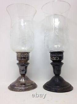 Vintage Pair of Sterling Silver Weighted Candle Holders with Floral Etched Glass