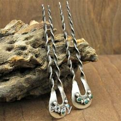 Vintage Pair of Sterling Silver and Turquoise Hair Pins