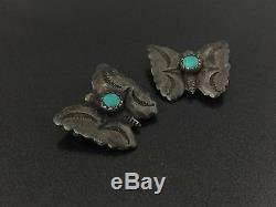 Vintage Petite Southwestern Turquoise Sterling Silver Butterfly Pin Brooch Pair