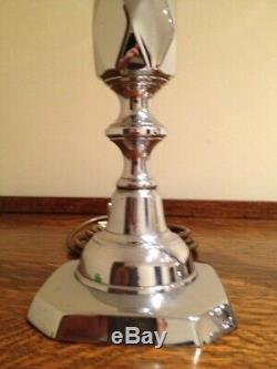 Vintage'QUEEN OF DIAMONDS' Table Lamps PAIR Silver Chrome H13 Bling Bling