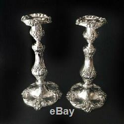 Vintage Reed & Barton KING FRANCIS 1630 Silver Plate 10 inch Candlesticks Pair