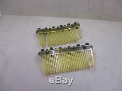 Vintage STERLING SILVER 925 Green Blue Turquoise Accent Pair of Hair Combs 31