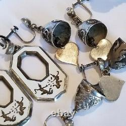 Vintage Siam Niello Sterling Silver 925 4 Pairs Earrings 1 Bracelet 1 Necklace