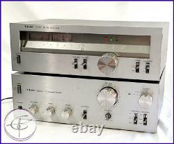 Vintage Silver Face Stereo Amplifier Tuner Pair TEAC BX-300 TX-300 VG