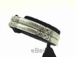Vintage Silver Moroccan Bracelets PAIR Berber Sahara Desert Tuareg Ethnic Tribal
