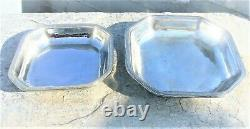 Vintage Silver Plated Octagonal Pair Platters Gense Extra Swedish American Line