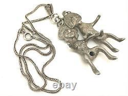 Vintage Solid Silver Aztec Fertility Erotic Couple Pendant & Chain 41.7g