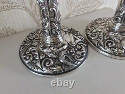 Vintage Solid Silver Pair Ornate Solid Silver Candlesticks Holders