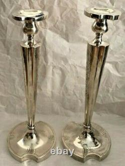 Vintage Solid Sterling Silver Candlesticks (initial H Engraved) (pair)