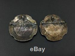 Vintage Southwestern Sterling Silver Kokopelli Pin Brooch Pendant Pairs (2)