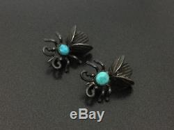 Vintage Southwestern Sterling Silver Turquoise Bug Pin Brooch Pair