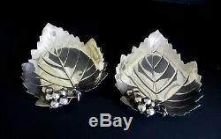 Vintage Sterling Grapeleaf Dishes matched pair 6½/4.5oz each