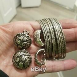 Vintage Sterling Silver 925 2 Pairs Mexico Earrings N & H 14 Bangle Bracelets