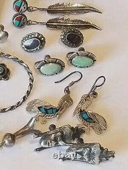 Vintage Sterling Silver 9 Pairs of Navajo Turquoise Lapis Coral MOP Earrings