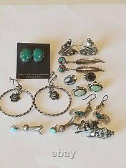 Vintage Sterling Silver 9 Pairs of Navajo Turquoise Lapis Coral MOP Onyx Pierce