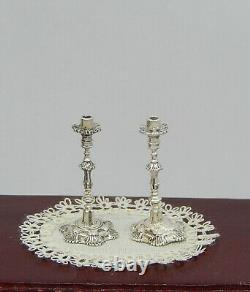 Vintage Sterling Silver Acquisito Candlesticks Pair Dollhouse Miniature 112