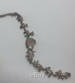 Vintage Sterling Silver Bracelet 925 Noahs Ark Animal Boat Ship Pairs 8