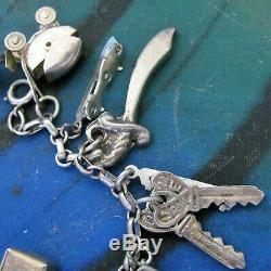 Vintage Sterling Silver Charm Bracelet Pair 24 charms