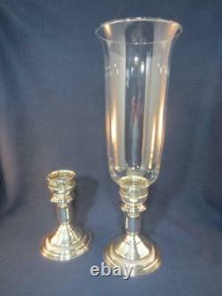 Vintage Sterling Silver Convertible Candle Stick Holder for Hurricane Globe Pair
