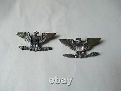 Vintage Sterling Silver Eagle US Army Insignia Colonel Shoulder Pins Pair