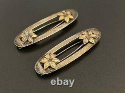 Vintage Sterling Silver Flower Hair Clip Barrette Pair
