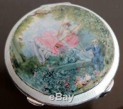 Vintage Sterling Silver & Guilloche Enamel Compact Courting Couple H C Davis