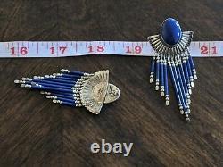 Vintage Sterling Silver QT Navajo Zuni Lapis Lazuli Bead Earrings Pair 11167