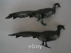 Vintage Sterling Silver Statue Full Figural Peacocks Male Female Pair Set
