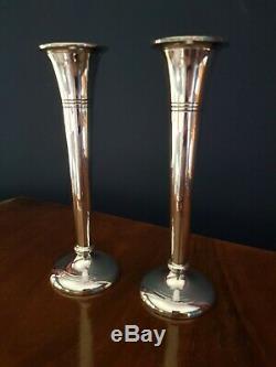 Vintage Sterling Silver Unweighted Candlesticks Pair 16cm Birmingham 1968