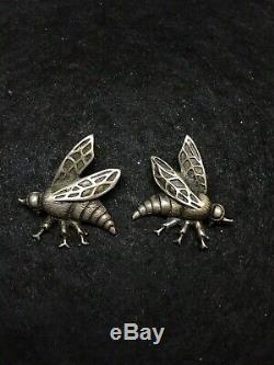 Vintage Sterling Silver Viking Craft Bee Brooch Rare Pair Male & Female